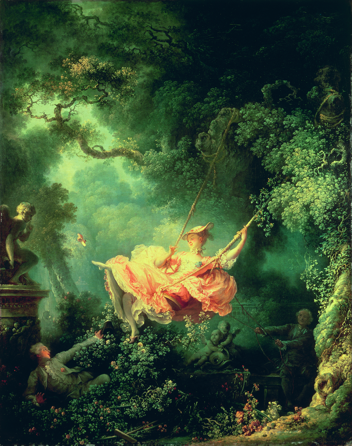 A rococo beauty is being swung to and fro in a tastefully coiffed, as it were, charmingly frilly park, while her admirer occupies himself with gazing at her.
